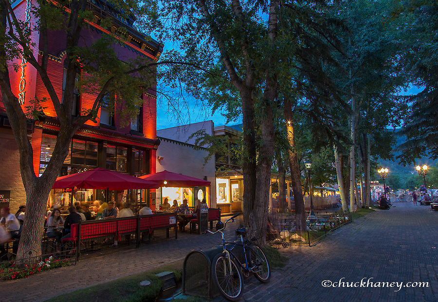 Evening lights in the streets of downtown in Aspen, Colorado, USA