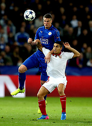 Robert Huth of Leicester City beats Wissam Ben Yedder of Sevilla to a header - Mandatory by-line: Robbie Stephenson/JMP - 14/03/2017 - FOOTBALL - King Power Stadium - Leicester, England - Leicester City v Sevilla - UEFA Champions League round of 16, second leg