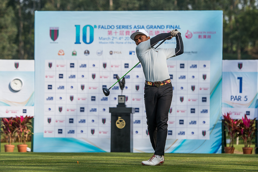 M. Afif Mohd Fathi of Malaysia in action during day one of the 10th Faldo Series Asia Grand Final at Faldo course in Shenzhen, China. Photo by Xaume Olleros.
