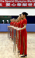 HOSTESSES DURING FIRST DAY COMPETITION IN THE HUANGPU ROLLER SKATING HALL AT THE SPECIAL OLYMPICS WORLD SUMMER GAMES SHANGHAI 2007..SPECIAL OLYMPICS IS AN INTERNATIONAL ORGANIZATION DEDICATED TO EMPOWERING INDIVIDUALS WITH INTELLECTUAL DISABILITIES..SHANGHAI , CHINA , OCTOBER 03, 2007.( PHOTO BY ADAM NURKIEWICZ / MEDIASPORT )..