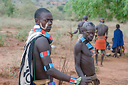 Hamer warriors at the jumping of the bull ceremony,Ethiopia,Africa