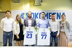 "Sportanzo organising team during press conference of handball event named ""Rokometna simfonija"" in honour of retirement of best Slovenian handball players Uros Zorman and Luka Zvizej, on April 14, 2019, in Arena Zlatorog, Celje, Slovenia. Photo by Vid Ponikvar / Sportida"