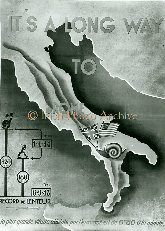 propaganda poster depicting the allied advance in Italy 1944