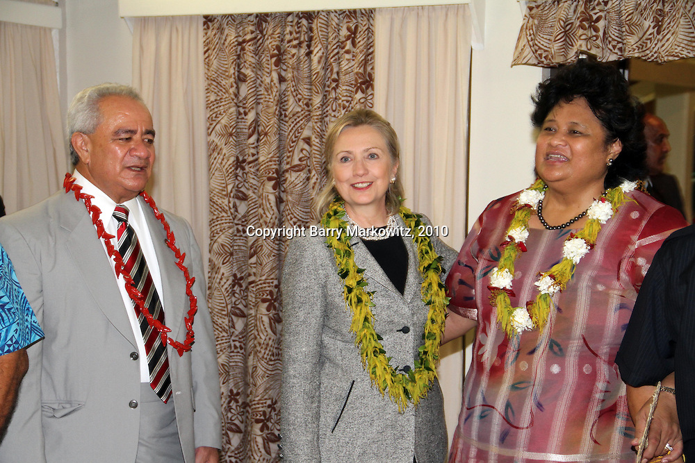 First Lady Maryann Tulafono leads the leaders of American Samoa in a traditional farewell to US Secretary of State Hillary Clinton, as the Hon. Governor Togiola Tulafono joins in.  Photo by Barry Markowitz, 11/8/10, 1am