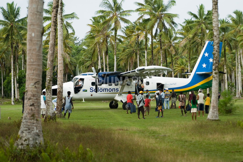 The arrival/departure lounge at Kagau airstrip, gateway to the Arnavons. A Twin Otter flies in and out from the Solomons capital, Honiara, once a week.