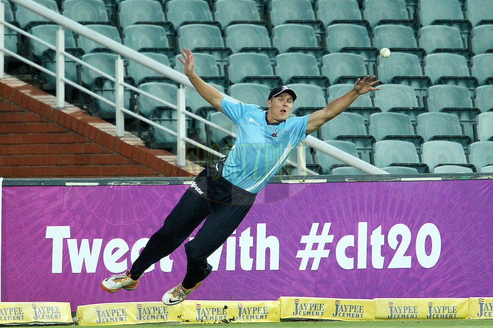 Michael Bates mis fields on the boundary during 2nd Qualifying match of the Karbonn Smart CLT20 South Africa between Auckland Aces and Sialkot Stallions held at The Wanderers Stadium in Johannesburg, South Africa on the 9th October 2012..Photo by Ron Gaunt/SPORTZPICS/CLT20