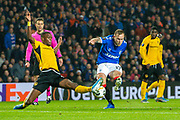 Christopher Martins Pereira (#35) of BSC Young Boys blocks the shot of Scott Arfield (#37) of Rangers FC during the Europa League Group G match between Rangers FC and BSC Young Boys at Ibrox Park, Glasgow, Scotland on 12 December 2019.