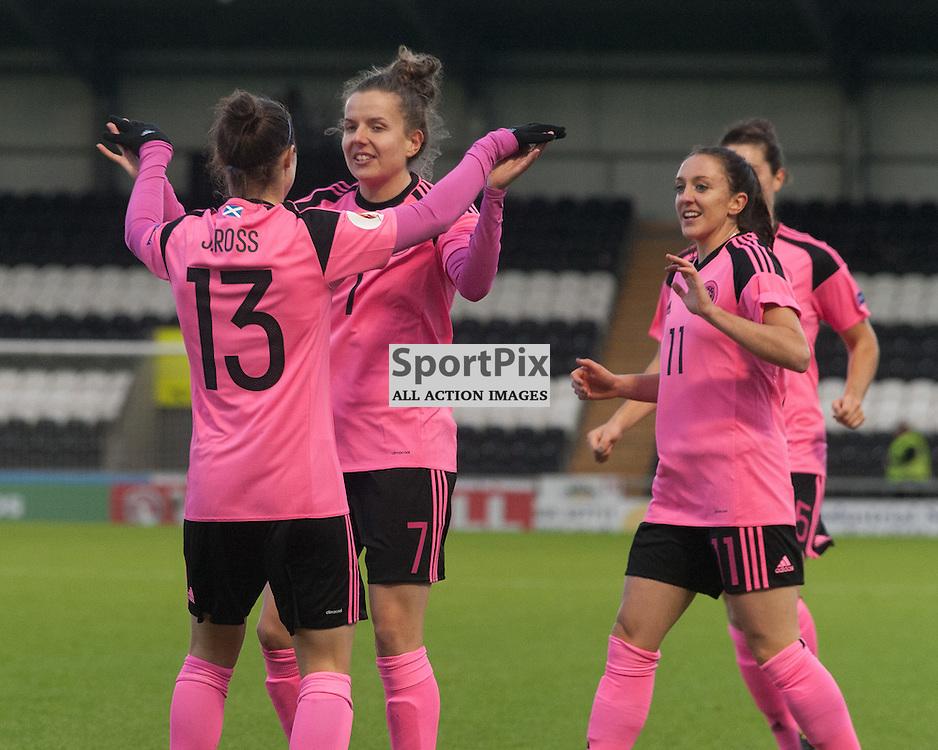 Scotland celebrations for 1-0<br /> <br /> UEFA Women's European Championship Qualifying - Group 1 <br /> Scotland v FYR Macedonia<br /> St Mirren Park, Paisley<br /> Sunday 29 November 2015<br /> <br /> &copy; Russel Hutcheson | SportPix 2015