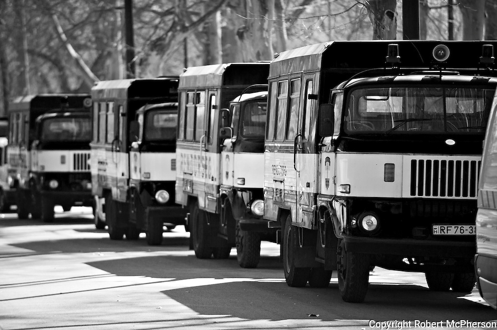 "In March 2012 ""The Hungarian Guard"",a right-wing extremist paramilitary organization appeared public for the first time in 3 years after being banned by the authorities. 500 policemenn came to make sure that ""The Hungarian Guard"" was under control. Prison trucks from the Soviet era was lined up to put them in prison incase they did something that the police felt was inappropriate. During their ceremony they had to sit down by order from the police. They obeyed and nothing violent happened."