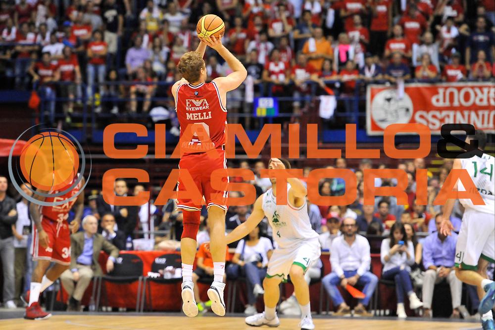 DESCRIZIONE : Campionato 2013/14 Finale GARA 1 Olimpia EA7 Emporio Armani Milano - Montepaschi Mens Sana Siena<br /> GIOCATORE : Nicolo' Melli<br /> CATEGORIA : Tiro Tre Punti Controcampo<br /> SQUADRA : Olimpia EA7 Emporio Armani Milano<br /> EVENTO : LegaBasket Serie A Beko Playoff 2013/2014<br /> GARA : Olimpia EA7 Emporio Armani Milano - Montepaschi Mens Sana Siena<br /> DATA : 15/06/2014<br /> SPORT : Pallacanestro <br /> AUTORE : Agenzia Ciamillo-Castoria / Luigi Canu<br /> Galleria : LegaBasket Serie A Beko Playoff 2013/2014<br /> Fotonotizia : DESCRIZIONE : Campionato 2013/14 Finale GARA 1 Olimpia EA7 Emporio Armani Milano - Montepaschi Mens Sana Siena<br /> Predefinita :