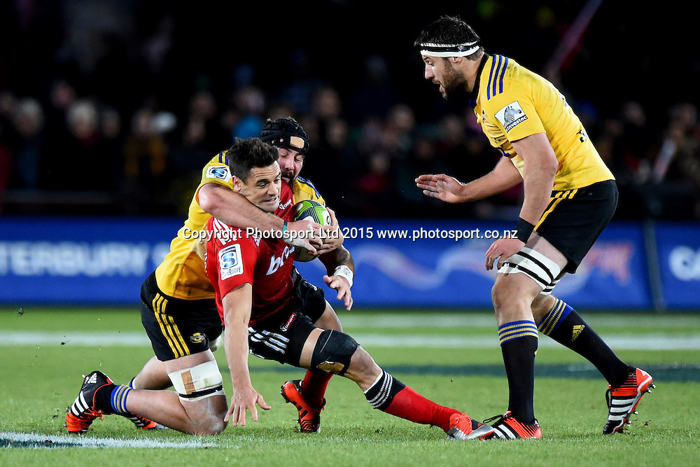 Crusaders player Dan Carter during their Investec Super Rugby game Crusaders v Hurricanes. Trafalgar Park, Nelson, New Zealand. Friday 29 May 2015. Copyright Photo: Chris Symes / www.photosport.co.nz