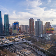 """One Grant Park skyscraper under construction in Chicago, pictured to the right of """"The Grant"""" and """"One Museum Park"""" in Chicago's South Loop and Near South Side area."""