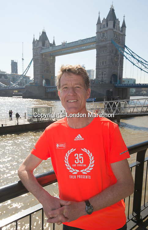 """Virgin Money London Marathon 2015<br /> <br /> Chris Finnell UK has run in every London Marathon for the last 35 years since the first London Marathon in 1981.<br /> Only 14 people are in this exclusive group they are known as the """"Ever Presents""""<br /> <br /> <br /> Photo: Bob Martin for Virgin Money London Marathon<br /> <br /> This photograph is supplied free to use by London Marathon/Virgin Money."""
