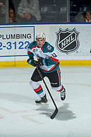 KELOWNA, CANADA - FEBRUARY 20: Erik Gardiner #12 of the Kelowna Rockets skates against the Prince George Cougars on February 20, 2018 at Prospera Place in Kelowna, British Columbia, Canada.  (Photo by Marissa Baecker/Shoot the Breeze)  *** Local Caption ***