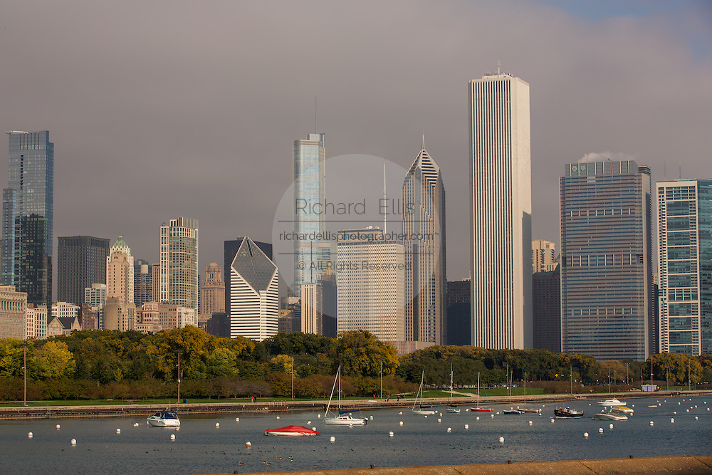 Skyline of downtown from the lakefront trail along Lake Michigan in Chicago USA