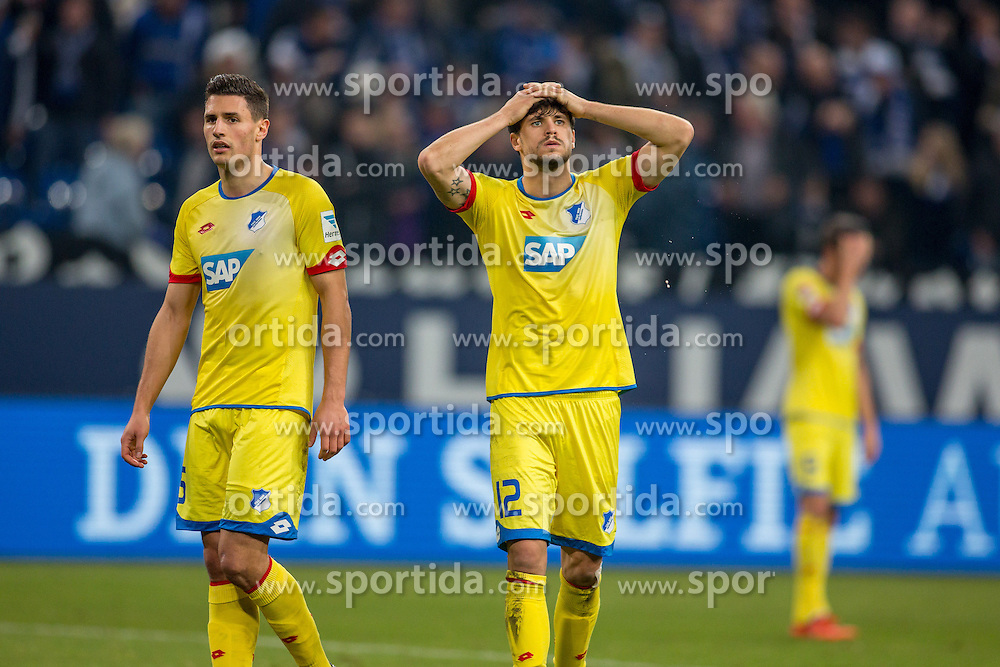 18.12.2015, Veltins Arena, Gelsenkirchen, GER, 1. FBL, Schalke 04 vs TSG 1899 Hoffenheim, 17. Runde, im Bild Tobias Strobl (TSG 1899 Hoffenheim #12) und Fabian Schaer (TSG 1899 Hoffenheim #5) nach dem Abpfiff // during the German Bundesliga 17th round match between Schalke 04 and TSG 1899 Hoffenheim at the Veltins Arena in Gelsenkirchen, Germany on 2015/12/18. EXPA Pictures &copy; 2015, PhotoCredit: EXPA/ Eibner-Pressefoto/ Schueler<br /> <br /> *****ATTENTION - OUT of GER*****