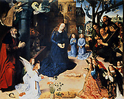 Adoration of the Shepherds' Hugo van der Goes (c1440-1482) South Netherlandish painter.  Flowers:  Iris for purity/Immaculate Conception,  seven flowers Columbine represents Holy Spirit. Nativity Jesus Mary Joseph Angel Ox Ass