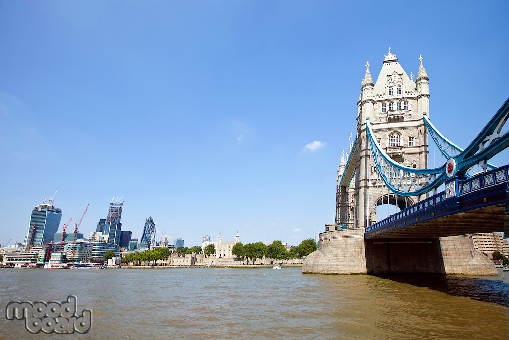 Tower Bridge in London with City of London in the background