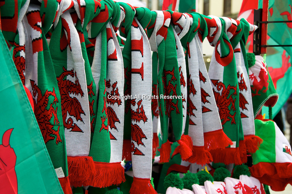 01.02.2014 Cardiff, Wales. Welsh scarfs for sale before the Six Nations game between Wales and Italy from the Millennium Stadium.