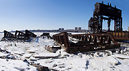 Ice surrounds the New York Central Railroad 69th St. Transfer Bridge, a historic monument along the Hudson River in New York City