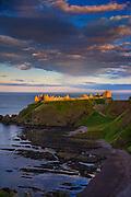 Evening light strikes Dunnottar castle, Aberdeenshire.
