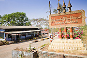 "19 FEBRUARY 2008 -- SANGKLABURI, KANCHANABURI, THAILAND: The Thai-Burma border at Three Pagodas Pass a few miles from Sangklaburi, Thailand, near the Baan Unrak Children's Home. The border has officially been closed since October 2007 because of political violence in Burma, but the border near Sangklaburi is very porous and hundreds of Burmese have crossed into Thailand near here in recent months.  Baan Unrak children's home and school, established in 1991 in Sangklaburi, Thailand, gives destitute children and mothers a home and career training for a better future. Baan Unrak, the ""Home of Joy,"" provides basic needs to well over 100 children, and  abandoned mothers. The home is funded by donations and the proceeds from the weaving and sewing shops at the home. The home is a few kilometers from the Burmese border. All of the women and children at the home are refugees from political violence and extreme poverty in Burma, most are Karen hill tribe people, the others are Mon hill tribe people. The home was started in 1991 when Didi Devamala went to Sangklaburi to start an agricultural project. An abandoned wife asked Devmala to help her take care of her child. Devmala took the child in and soon other Burmese women approached her looking for help.    Photo by Jack Kurtz"