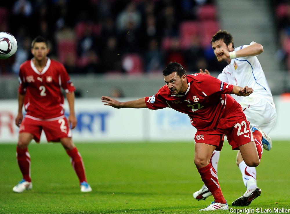 DK Caption:<br /> 20110622, Herning, Danmark.<br /> Fodbold UEFA U21 Euroropamesterskab, semifinale:<br /> Schweiz - Tjekkiet:  <br /> Xavier Hochstrasser, Schweiz / Switzerland.<br /> Foto: Lars M&oslash;ller<br /> <br /> UK Caption:<br /> 20110625, Aarhus, Denmark.<br /> Football UEFA U21 European Championship, semifinal:<br /> Schweiz - Czeck Republic: <br /> Xavier Hochstrasser, Schweiz / Switzerland.<br /> Photo: Lars Moeller