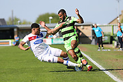 Forest Green Rovers Dan Wishart(17) is tackled by Dagenham's Curtley Williams(2) during the Vanarama National League Play Off second leg match between Forest Green Rovers and Dagenham and Redbridge at the New Lawn, Forest Green, United Kingdom on 7 May 2017. Photo by Shane Healey.
