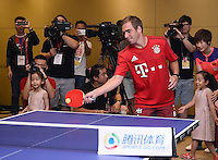 FUSSBALL     1. BUNDESLIGA     SAISON  2015/2016 Audi Football Summer Tour China 2015 FC Bayern Muenchen   18.07.2015 Tag 2; Philipp Lahm spielt Tischtennis bei einem Event des Sports.qq.com
