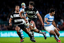 Lood de Jager of Barbarians runs in a try - Mandatory by-line: Robbie Stephenson/JMP - 01/12/2018 - RUGBY - Twickenham Stadium - London, England - Barbarians v Argentina - Killick Cup