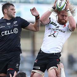 DURBAN, SOUTH AFRICA - MARCH 10: Ruan Botha of the Cell C Sharks and Willem Britz (captain) of the HITO-Communications Sunwolves during the Super Rugby match between Cell C Sharks and Sunwolves at Jonsson Kings Park Stadium on March 10, 2018 in Durban, South Africa. (Photo by Steve Haag/Gallo Images)