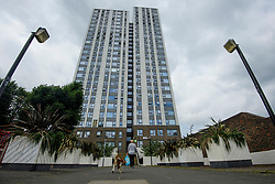 © Licensed to London News Pictures. 22/06/2017. London, UK. Dorney building on the Chalcot Estate in north London where a section of cladding has been removed by workmen as part of an investigation in to fire safety at tower blocks. Prime Minister Theresa May has told Parliament that up to 600 high rise tower blocks may have similar cladding to that found in Grenfell Tower, which went on fire last week, in which as many as 79 residents are thought to have perished. Photo credit: Ben Cawthra/LNP