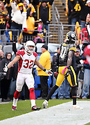 Arizona Cardinals free safety Tyrann Mathieu (32) complains to officials as Pittsburgh Steelers wide receiver Martavis Bryant (10) catches a touchdown pass during the 2015 NFL week 6 regular season football game against the Pittsburgh Steelers on Sunday, Oct. 18, 2015 in Pittsburgh. The Steelers won the game 25-13. (©Paul Anthony Spinelli)