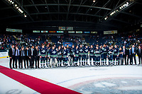 KELOWNA, CANADA - APRIL 30: The Seattle Thunderbirds' line up to accept the Western Conference title after a game 6 win against the Kelowna Rockets on April 30, 2017 at Prospera Place in Kelowna, British Columbia, Canada.  (Photo by Marissa Baecker/Shoot the Breeze)  *** Local Caption ***