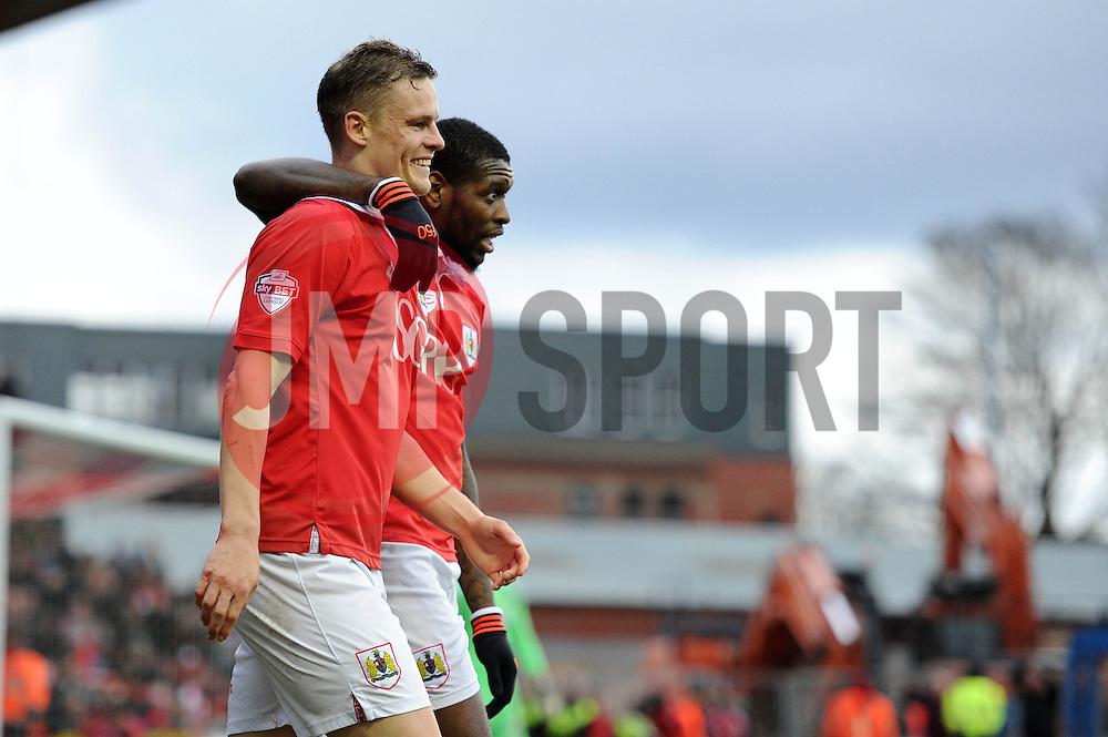 Caption Correction. Bristol City's Matt Smith celebrates his goal with Bristol City's Jay Emmanuel-Thomas - Photo mandatory by-line: Dougie Allward/JMP - Mobile: 07966 386802 - 14/02/2015 - SPORT - Football - Bristol - Ashton Gate - Bristol City v Sheffield United - Sky Bet League One