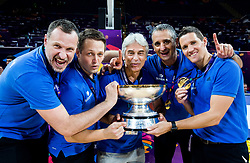 Rado Trifunovic, assistant coach of Slovenia, Aleksander Sekulic, assistant coach of Slovenia, Miljan Grbovic, assistant coach of Slovenia, Igor Kokoskov, coach of Slovenia and Jaka Lakovic, assistant coach of Slovenia celebrating at Trophy ceremony after winning during the Final basketball match between National Teams  Slovenia and Serbia at Day 18 of the FIBA EuroBasket 2017 when Slovenia became European Champions 2017, at Sinan Erdem Dome in Istanbul, Turkey on September 17, 2017. Photo by Vid Ponikvar / Sportida