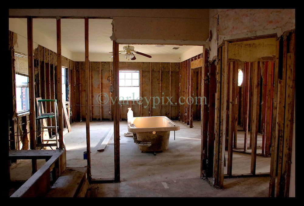 3rd November, 2005. Inside the gutted, skeletal remains of a Saint Bernard parish home flooded out by Katrina. Hurricane Katrina caused a 20ft tidal surge to sweep over the land, devastating much of the parish.