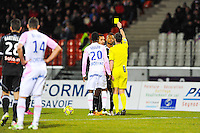 CARTON JAUNE POUR Jordan AYEW / Frank SCHNEIDER - 04.03.2015 - Evian Thonon / Lorient - Match en retard de la 26eme journee de Ligue 1 <br />Photo : Jean Paul Thomas / Icon Sport