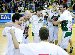 Saso Ozbolt, Marko Maravic, Mirza Begic, Damjan Rudez and Vladimir Golubovic celebrate at third finals basketball match of Slovenian Men UPC League between KK Union Olimpija and KK Helios Domzale, on June 2, 2009, in Arena Tivoli, Ljubljana, Slovenia. Union Olimpija won 69:58 and became Slovenian National Champion for the season 2008/2009. (Photo by Vid Ponikvar / Sportida)
