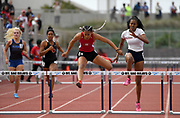 May 19, 2018; Torrance, CA, USA; Nyree Brown of Segerstrom wins the Division I girls 300m hurdles in 41.86 during the CIF Southern Section Finals  at El Camino College.