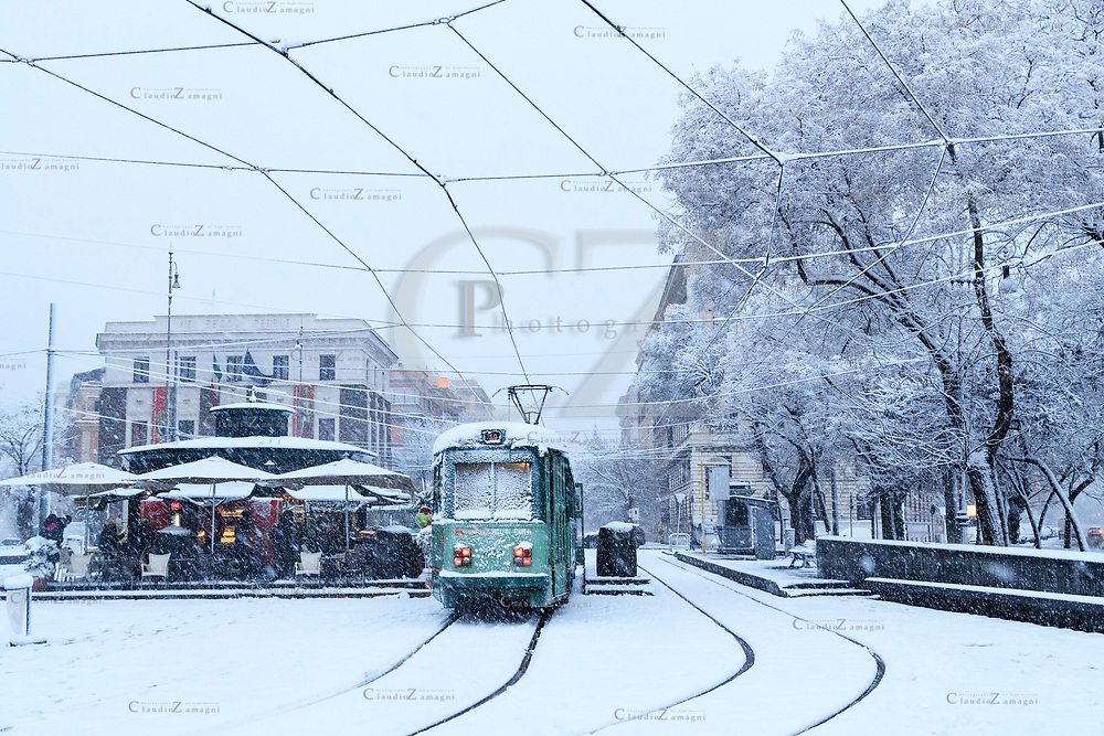 Rome under snow Risorgimento Square<br /> &copy;Claudio Zamagni