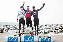 Second placed Daniel Auer of WSA Pushbikers, winner Dusan Rajovic of Adria Mobil and third placed Matthew Gibson of JLT Condor celebrate at Trophy ceremony after the cycling race 5. VN Slovenske Istre / 5th Slovenian Istra Grand Prix, on February 25, 2018 in Izola/ Isola, Slovenia. Photo by Vid Ponikvar / Sportida