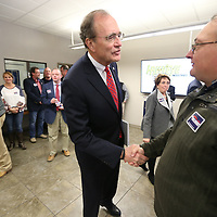 Delbert Hoseman greets supporters Wednesday as he announces his campaign for Lt. Goverenor at Hawkeye Industries in Tupelo.