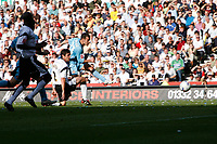 Sunderland no33 Ross Wallace fires their second goal against Derby County
