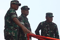 October 3, 2017 - Banten, Banten, India - Indonesian military Commander, General Gatot Nurmantyo (center), inspect the last preparation for commemorating the 72nd National Military Day at the Indah Kiat harbour, Banten Province, on Tuesday, October 3, 2017. In the commemoration of National Military Day this year, which will take place on October 5, Indonesia will feature a number of the latest weaponry equipment, such as AH-64E Apache helicopters, Changbogo class submarine, and Kaplan medium tank prototype from cooperation of Indonesian defense industry, PT. Pindad with Turkish defense industry FNSS. (Credit Image: © Aditya Irawan/NurPhoto via ZUMA Press)