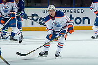 PENTICTON, CANADA - SEPTEMBER 11: Kailer Yamamoto #56 of Edmonton Oilers skates against the Vancouver Canucks on September 11, 2017 at the South Okanagan Event Centre in Penticton, British Columbia, Canada.  (Photo by Marissa Baecker/Shoot the Breeze)  *** Local Caption ***
