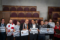 May 2, 2018 - Rome, Italy, Italy - The president of the Capitoline Assembly, Marcello De Vito,(C) receives in Campidoglio, in the Giulio Cesare Hall, a delegation of AS Roma and Liverpool FC supporters including Gareth Roberts,(L) director of the Reds information magazine 'The Anfield Wrap', with Angelo Consoli (R) AS ROMA supporters to renew the spirit of sporting friendship between the fans of the two teams and solidarity with Liverpool supporter Sean Cox, 53, who remains in a critical condition after clashes between fans near Anfield football stadium, after UEFA Champions League semi-final first leg match between AS Roma and Liverpool in Rome, Italy, on May 2, 2018 in Rome, (Credit Image: © Andrea Ronchini/NurPhoto via ZUMA Press)