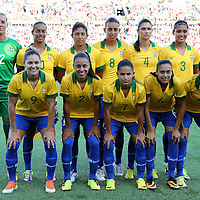 The starting 11 for the Brazil Womens National team prior to a women's soccer International friendly match between Brazil and the United States National Team, at the Florida Citrus Bowl  on Sunday, November 10, 2013 in Orlando, Florida. The U.S won the game by a score of 4-1.  (AP Photo/Alex Menendez)