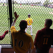St. Elizabeth WilliamVernon(10) and Dean Herrick (11) cheer for their teammates from the dugout during of a varsity scheduled game between the Colonials of William Penn and The St. Elizabeth Vikings Saturday, April 25, 2015, at William Penn High School baseball field in New Castle Delaware.<br /> <br /> William Penn defeats St. Elizabeth 6-5