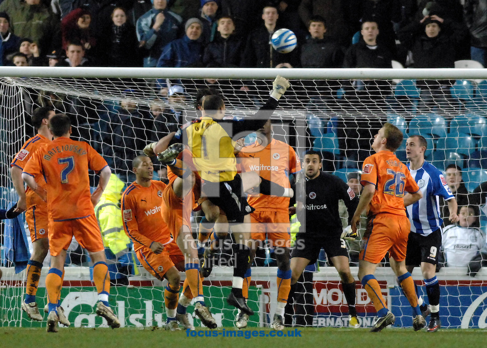 Sheffield - Tuesday, March 3rd, 2009:  Sheffield Wednesday's goalkeeper is thrown into the attack in a last ditch attempt to equalise, his header missing the net against Reading FC during the Coca Cola Championship match at Hillsborough, Sheffield. (Pic by John Rushworth/Focus Images)